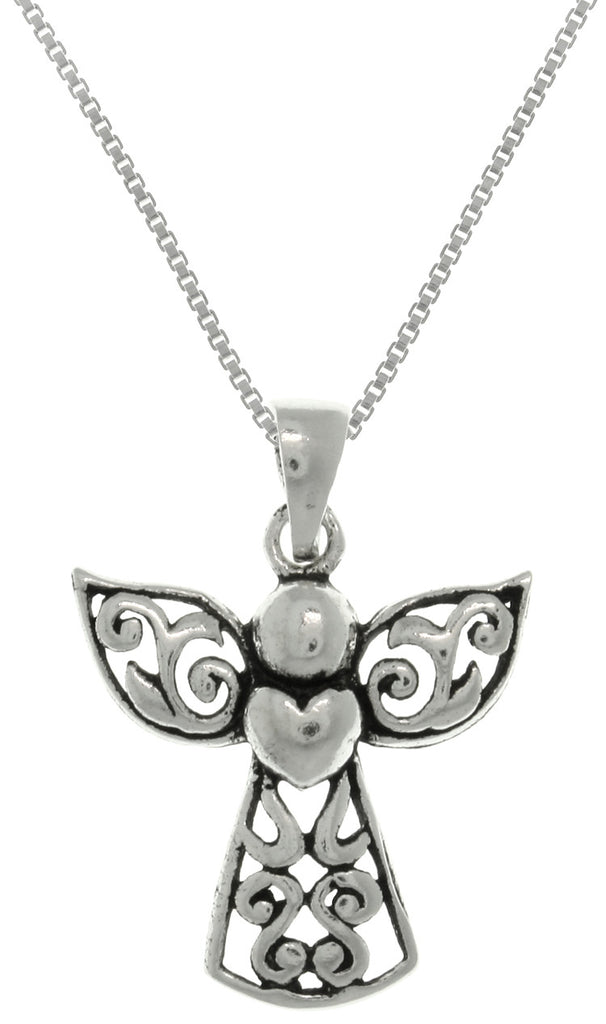 Jewelry Trends Sterling Silver Small Filigree Angel Heart Pendant on Box Chain Necklace First Communion Religious Jewelry