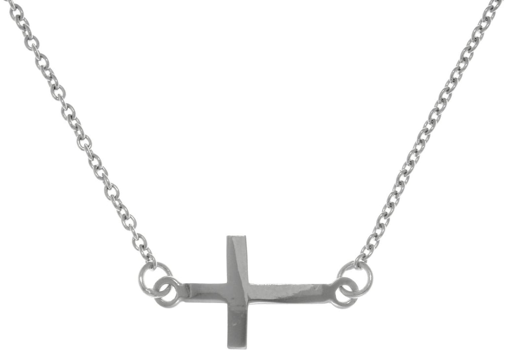Jewelry Trends Sterling Silver Classic Sideways Cross Bar Necklace
