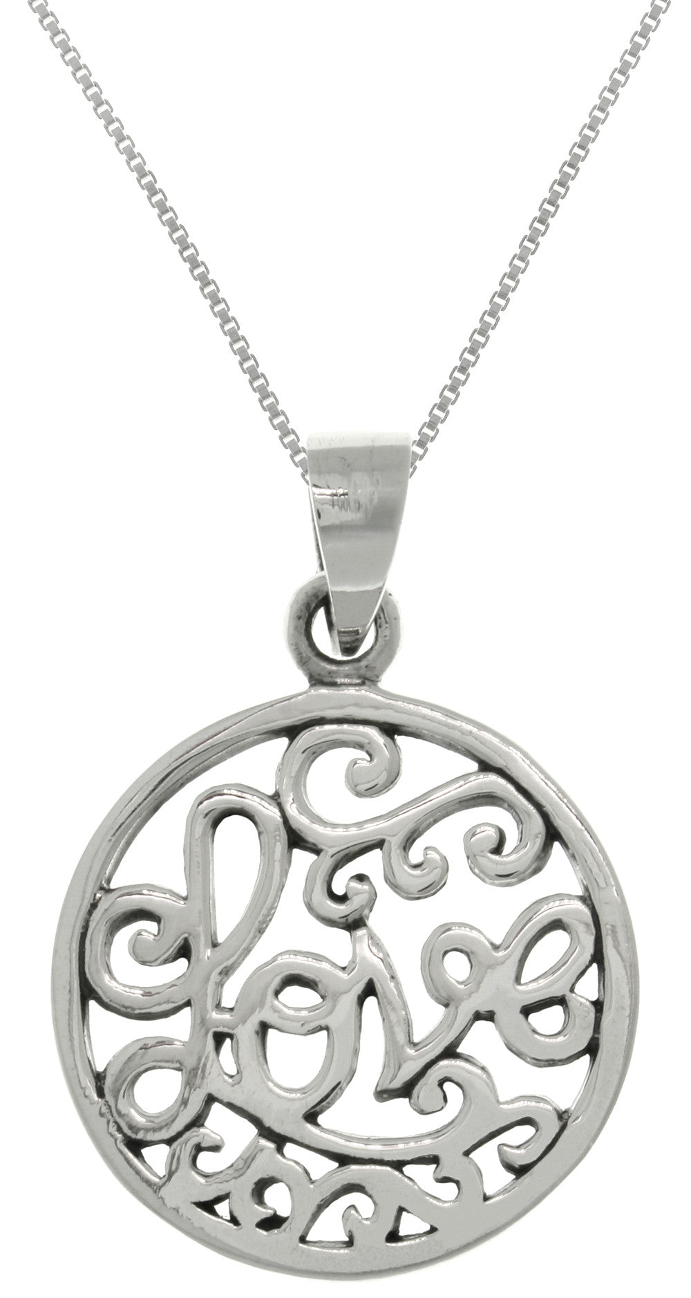 Jewelry Trends Sterling Silver Love Word Round Pendant on 18 Inch Box Chain Necklace Valentine's Day Gift