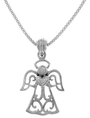 Jewelry Trends Sterling Silver Filigree Love Angel Pendant on 18 Inch Box Chain Necklace