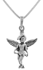 Jewelry Trends Sterling Silver 3D Pixie Fairy Pendant on 18 Inch Box Chain Necklace