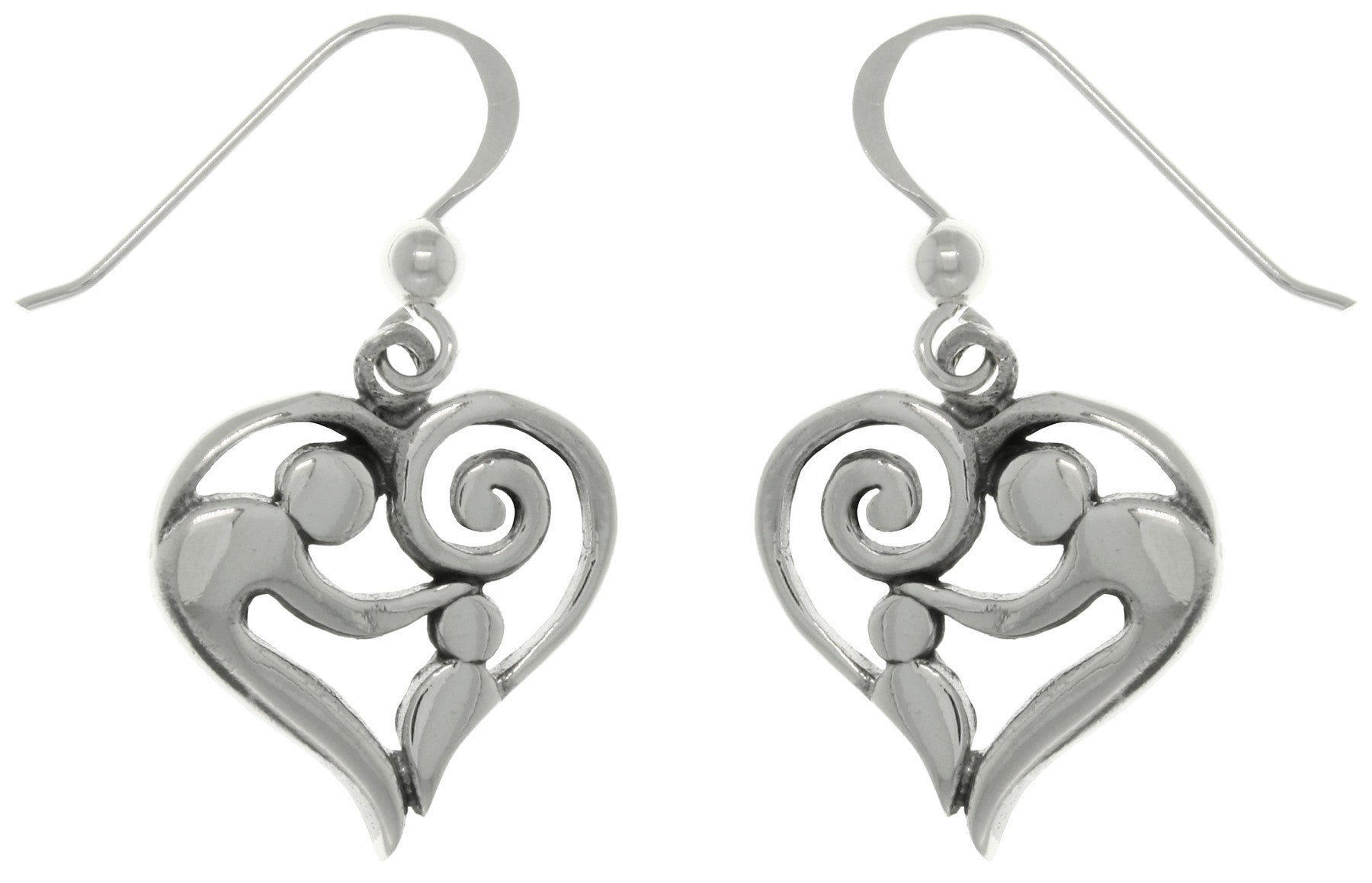 Jewelry Trends Sterling Silver Mother and Child Heart Dangle Earrings Gift