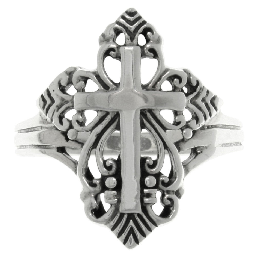 Jewelry Trends Sterling Silver Ornamental Cross Ring Whole Sizes 5 - 12