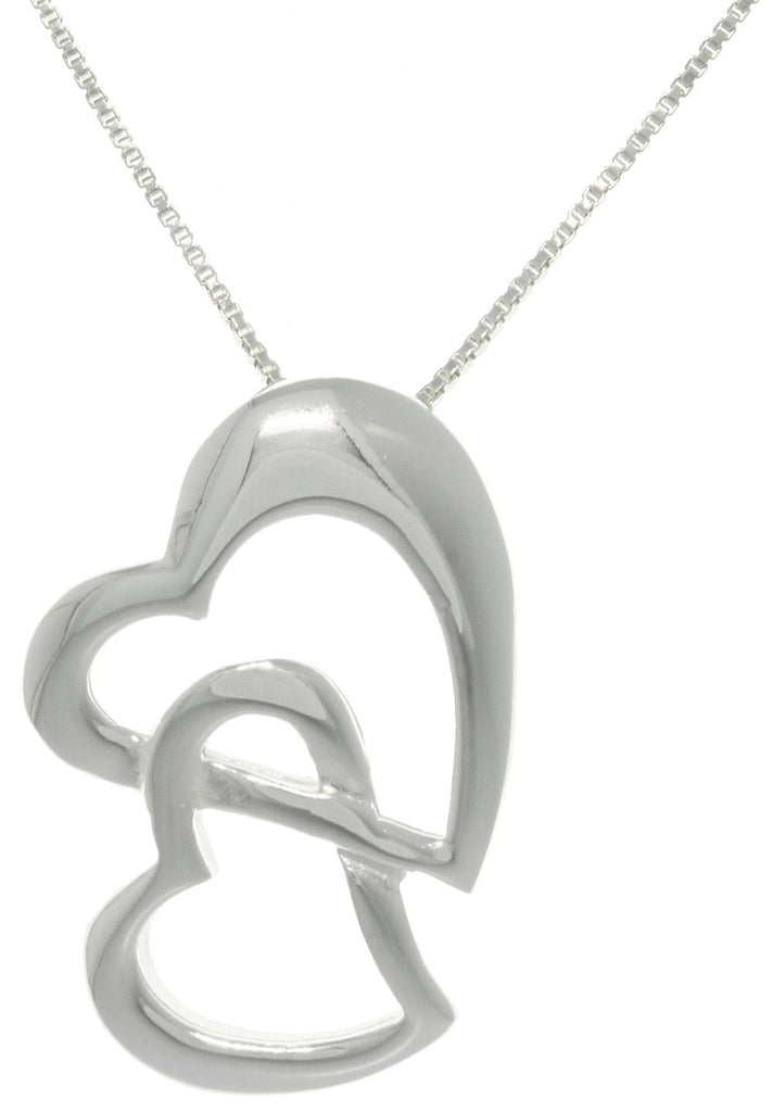 Jewelry Trends Sterling Silver Linked Love Hearts Pendant with 18 Inch Box Chain Necklace