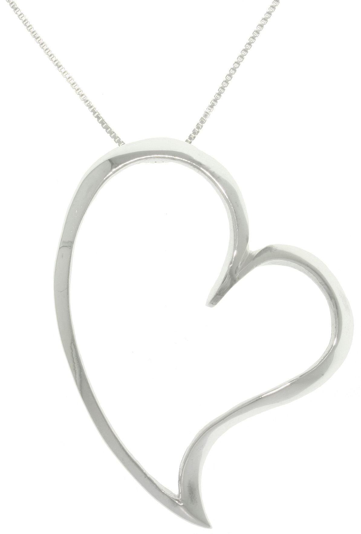 "Jewelry Trends Sterling Silver Large Open Floating Heart Pendant on 18"" Box Chain Necklace"