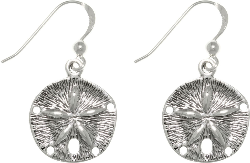 Jewelry Trends Sterling Silver Sand Dollar Star Dangle Earrings
