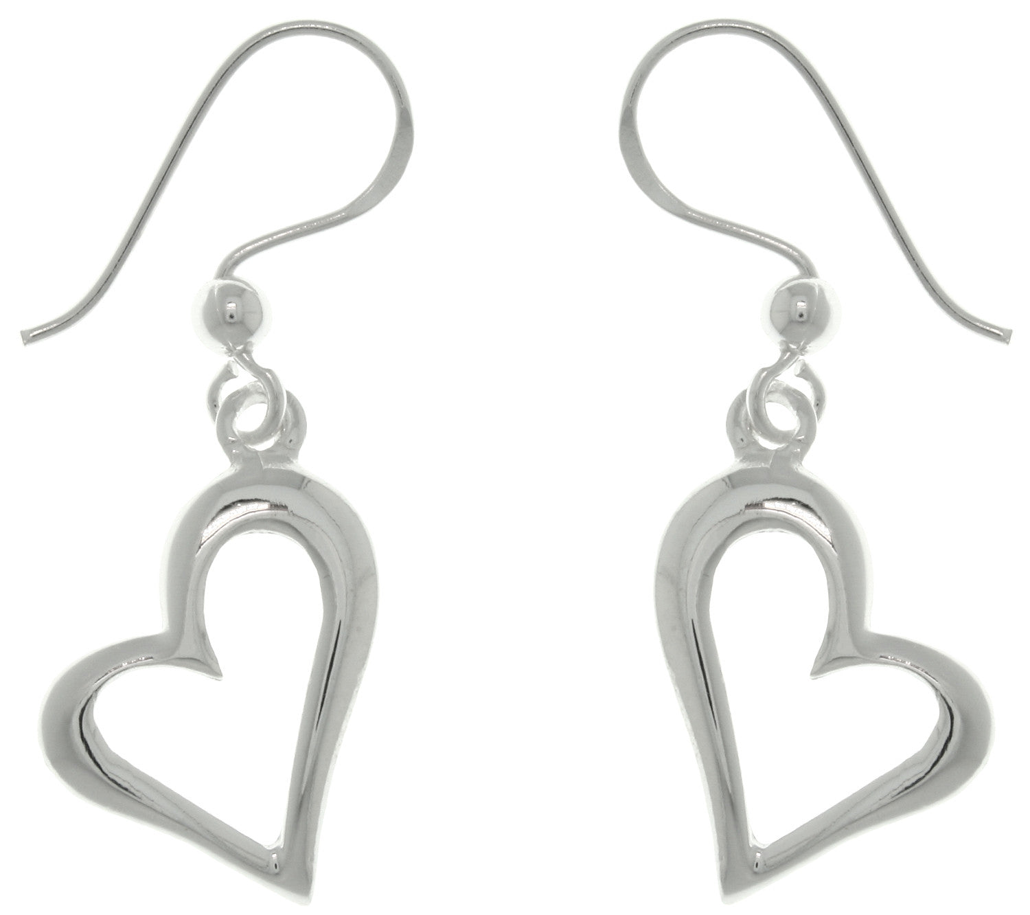 Jewelry Trends Sterling Silver Open Heart Dangle Earrings