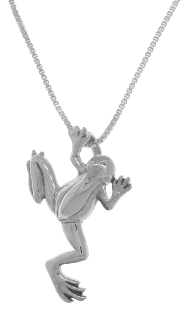 Jewelry Trends Sterling Silver Jumping Frog Pendant on 18 Inch Box Chain Necklace