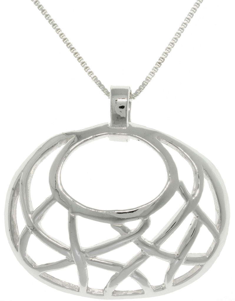 Jewelry Trends Sterling Silver Basket Weave Oval Geometric Pendant with 18 Inch Chain Necklace