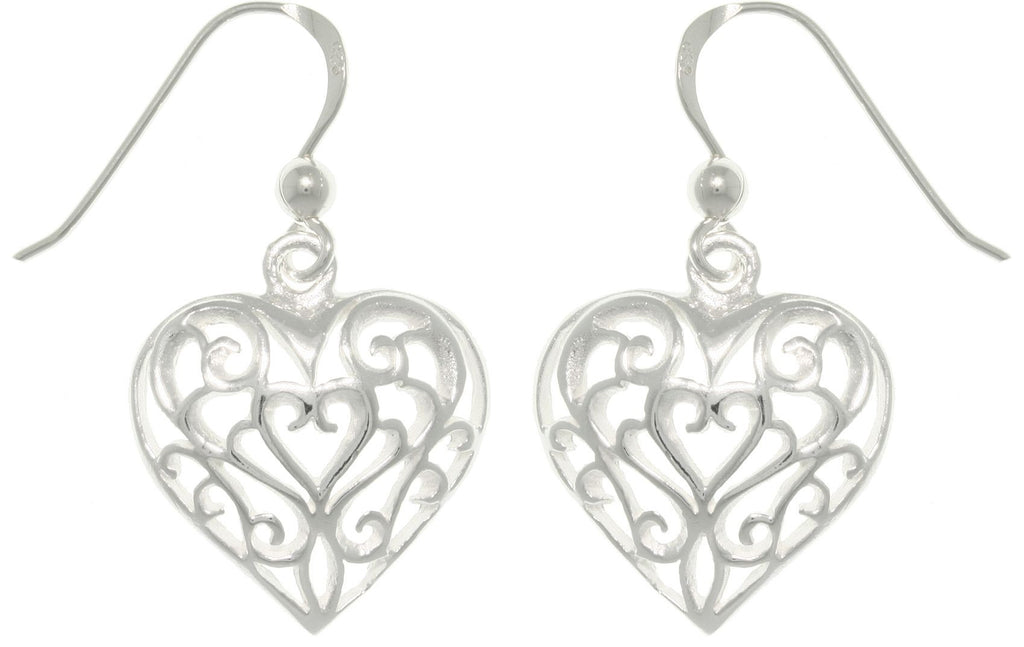 Jewelry Trends Sterling Silver Filigree Heart Dangle Earrings