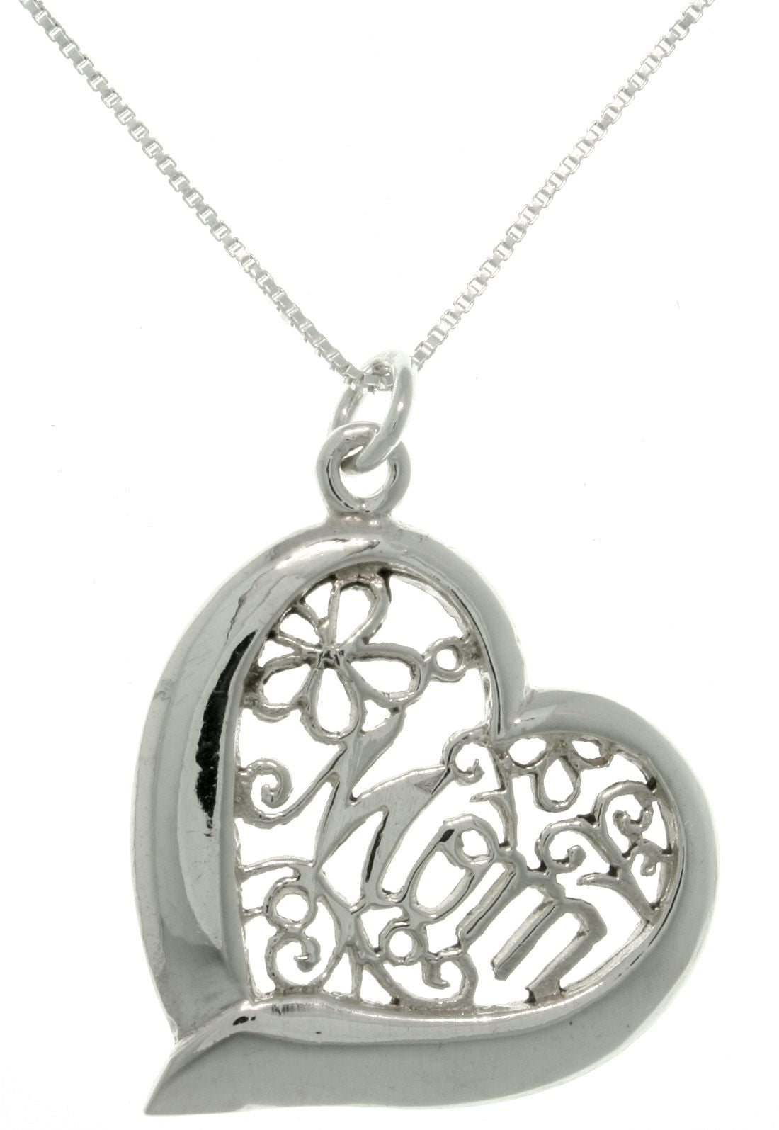 Jewelry Trends Sterling Silver Mom Heart Pendant on 18 Inch Box Chain Necklace Mothers Day Gift