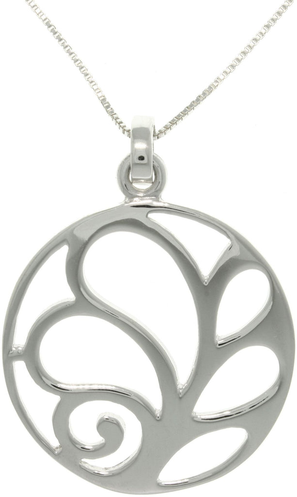 Jewelry Trends Sterling Silver Artistic Leaf Circle Pendant with 18 Inch Box Chain Necklace