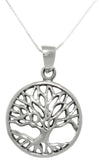Jewelry Trends Sterling Silver Autumn Tree of Life Round Pendant on 18 Inch Box Chain Necklace