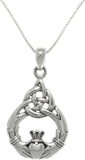 Jewelry Trends Sterling Silver Celtic Claddagh Teardrop Knot Pendant on 18 Inch Box Chain Necklace