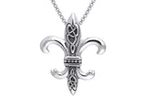 Jewelry Trends Sterling Silver Celtic Knots Fleur De Lis Pendant on 18 Inch Box Chain Necklace