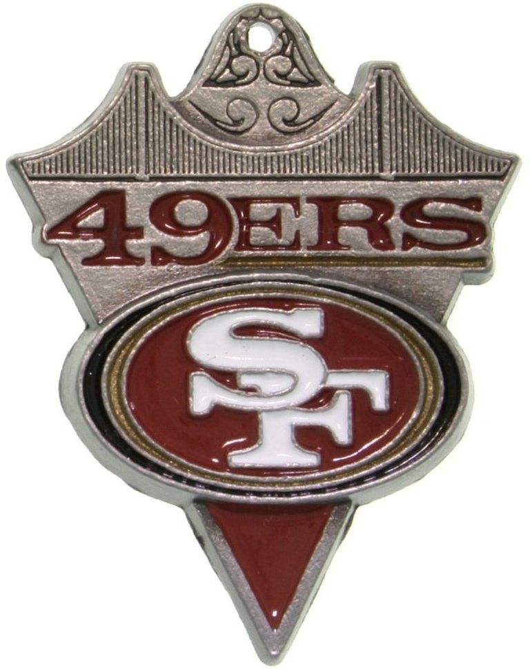 Jewelry Trends Pewter San Francisco 49ers NFL Pennant Pendant on Black Leather Necklace