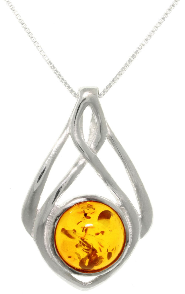 Jewelry Trends Sterling Silver Baltic Amber Drop Pendant with 18 Inch Box Chain Necklace