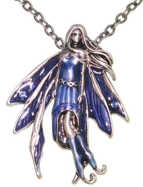 Jewelry Trends Jessica Galbreth's 'Sapphire Fairy' Pewter Pendant with 23 Inch Link Chain Necklace