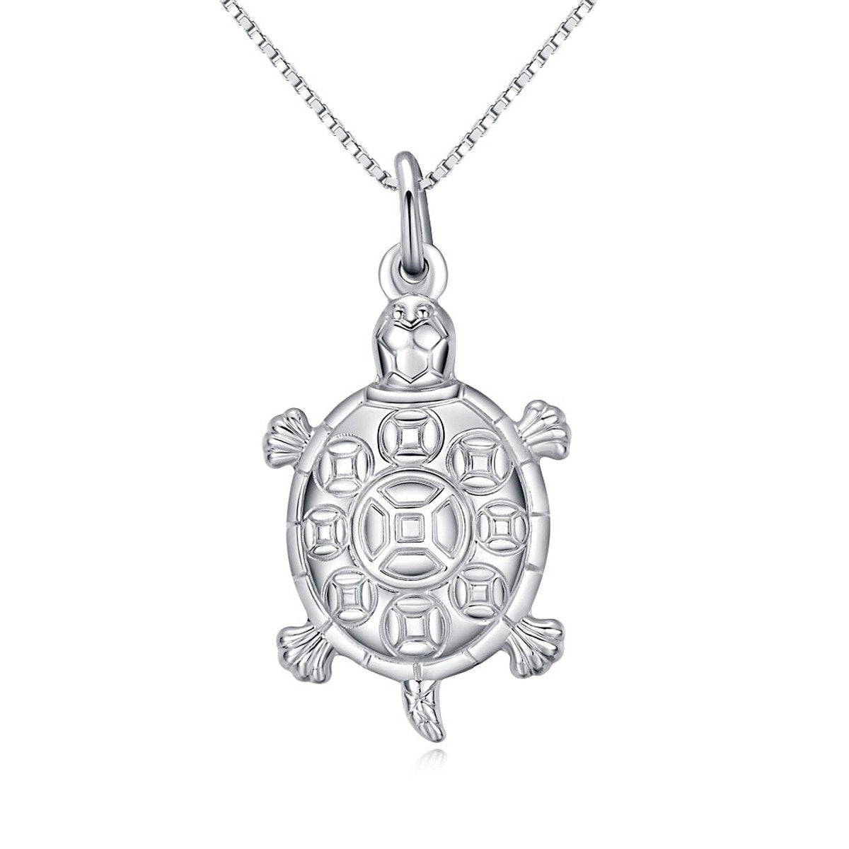 Jewelry Trends Sterling Silver Puff Turtle Pendant with Detailed Shell on 18 Inch Box Chain Necklace
