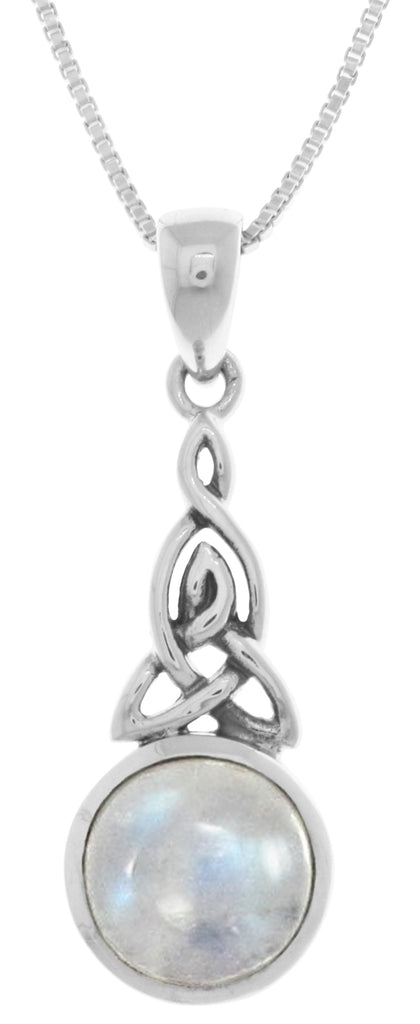Jewelry Trends Sterling Silver Celtic Trinity Knot Pendant with Moonstone on 18 Inch Box Chain Necklace