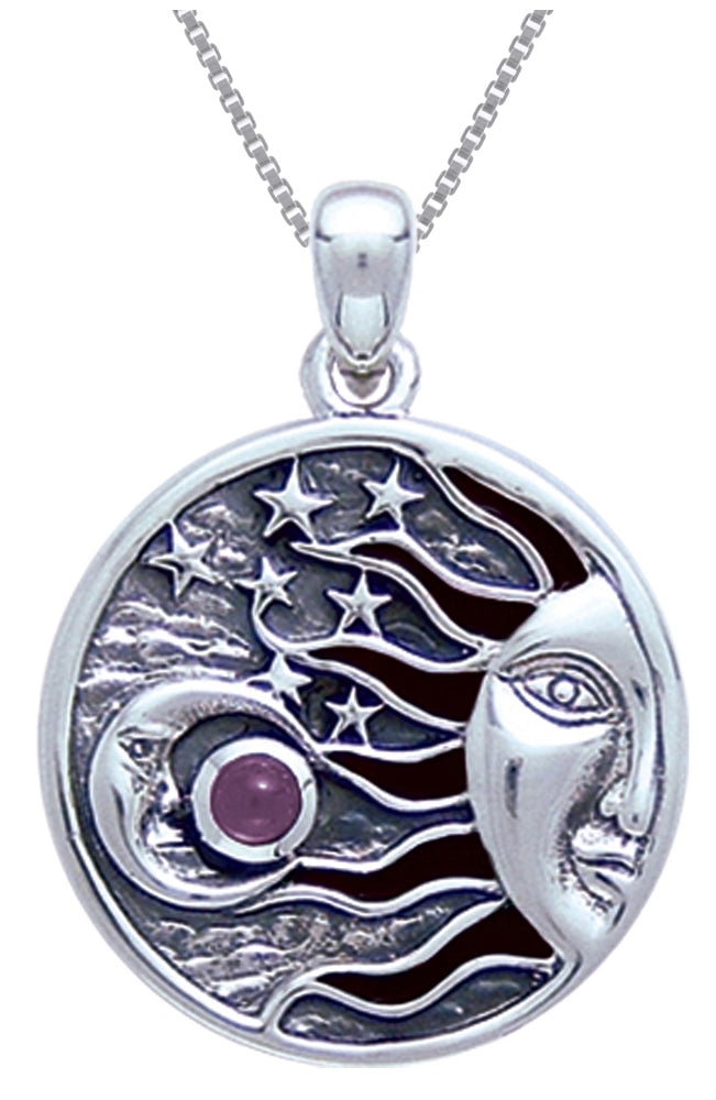 Jewelry Trends Sterling Silver with Amethyst Celestial Sun Moon Stars Pendant on 18 Inch Box Chain Necklace