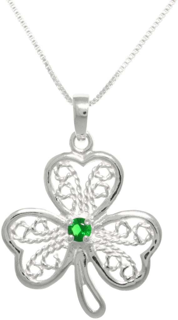 Jewelry Trends Sterling Silver Filigree Cubic Zirconia Lucky Clover Pendant With 18 Inch Chain Necklace