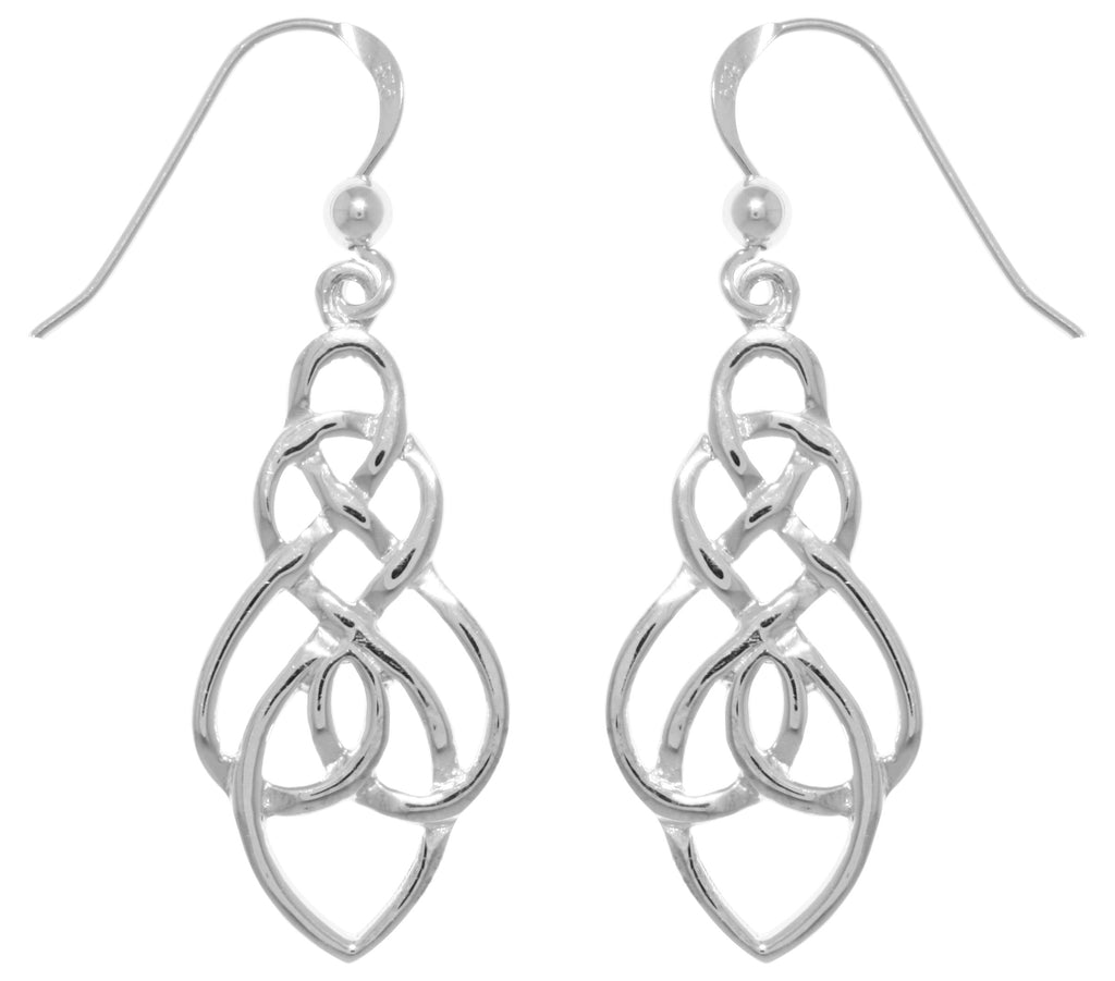 Jewelry Trends Sterling Silver Teardrop Celtic Knot Drop Dangle Earrings