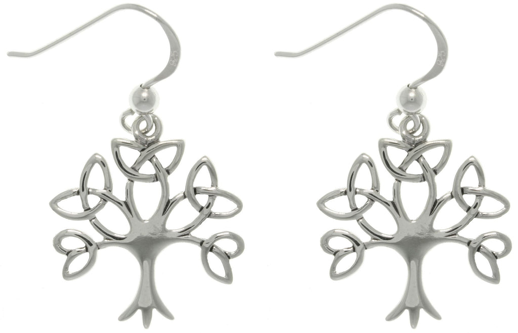 Jewelry Trends Sterling Silver Tree of Life Celtic Trinity Knot Branch Dangle Earrings
