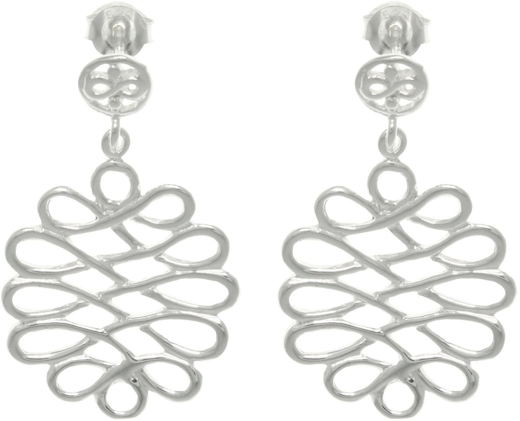 Jewelry Trends Sterling Silver Celtic Filigree Knot Circle Dangle Earrings