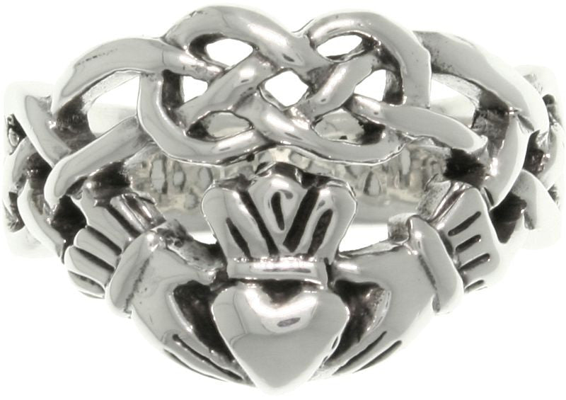 Jewelry Trends Sterling Silver Celtic Infinity Claddagh Heart Ring Whole Sizes 6 - 13