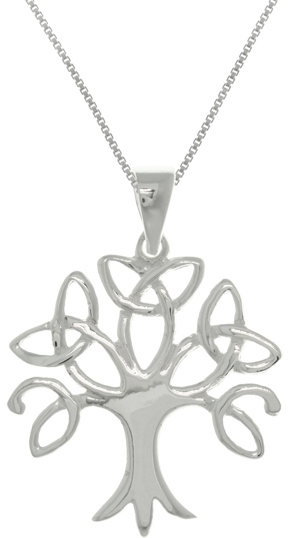 Jewelry Trends Sterling Silver Tree of Life Celtic Trinity Knot Branch Pendant on 18 Inch Box Chain Necklace