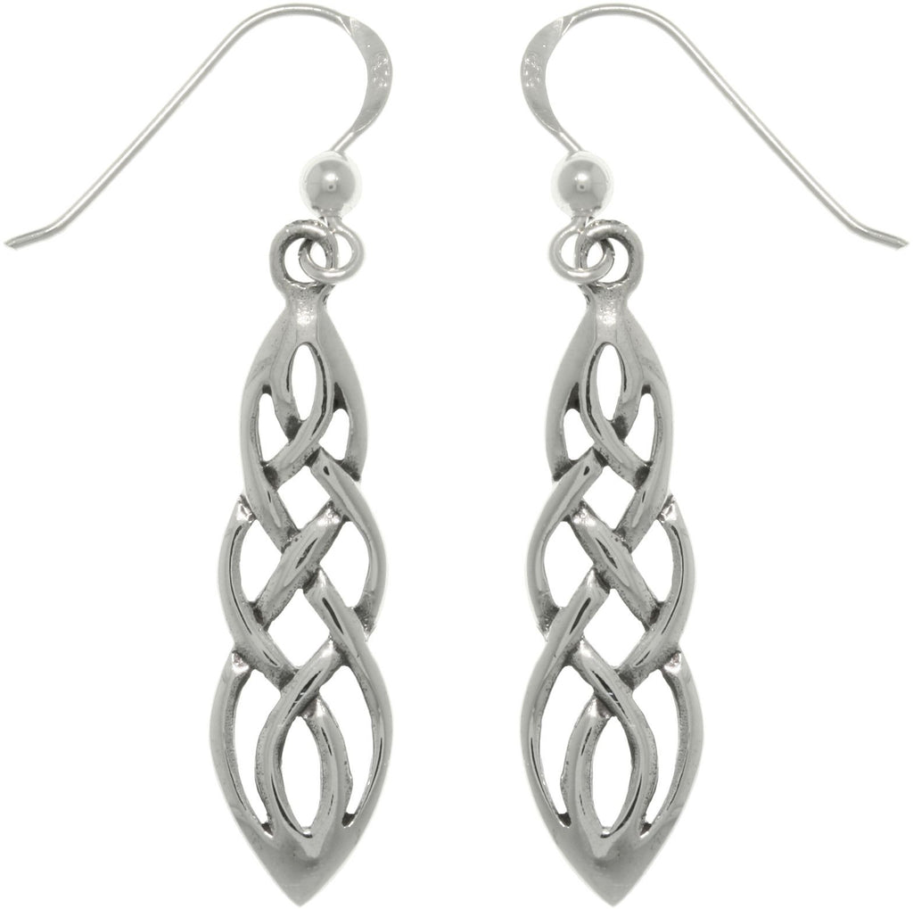 Jewelry Trends Sterling Silver Celtic Knot Linear Teardrop Dangle Earrings