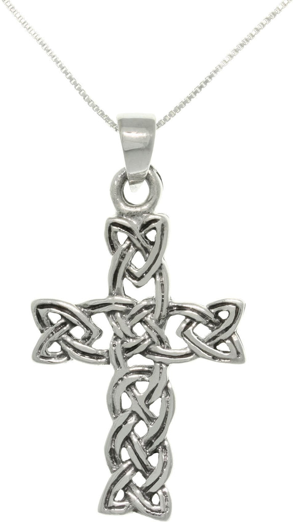 Jewelry Trends Sterling Silver Celtic Braid Cross Pendant with 18 Inch Box Chain Necklace