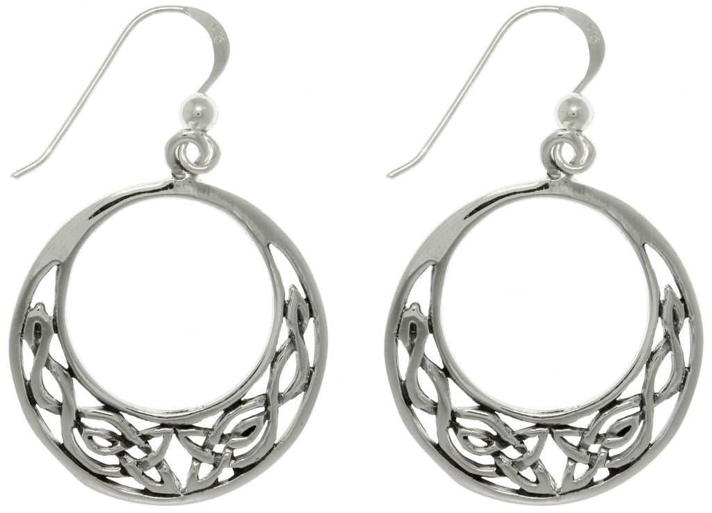 Jewelry Trends Sterling Silver Round Celtic Knot Hoop Dangle Earrings