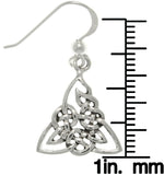 Jewelry Trends Sterling Silver Celtic Triangle Trinity Knot Dangle Earrings