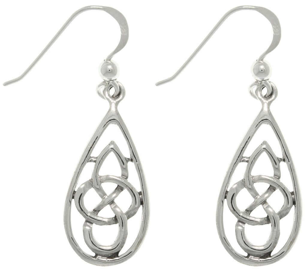 Jewelry Trends Sterling Silver Celtic Teardrop Knot Dangle Earrings