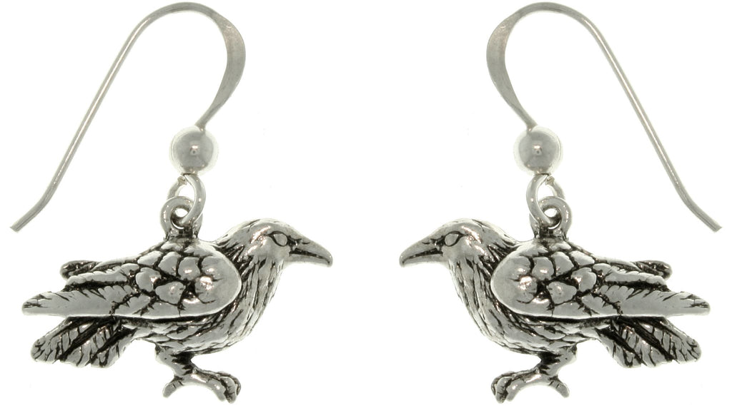 Jewelry Trends Sterling Silver Celtic Crow Black Bird Dangle Earrings Raven Jewelry