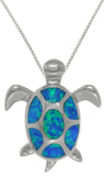 Jewelry Trends Sterling Silver Lab Created Blue Opal Sea Turtle Pendant on Box Chain Necklace