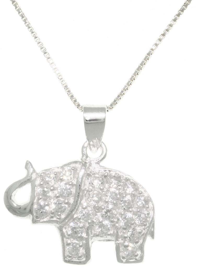 Jewelry Trends Sterling Silver and Pave CZ Lucky Elephant Pendant on 18 Inch Box Chain Necklace