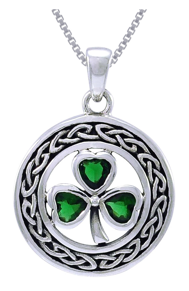 Jewelry Trends Sterling Silver Celtic Clover Pendant with Green Glass Leaves on 18 Inch Box Chain Necklace