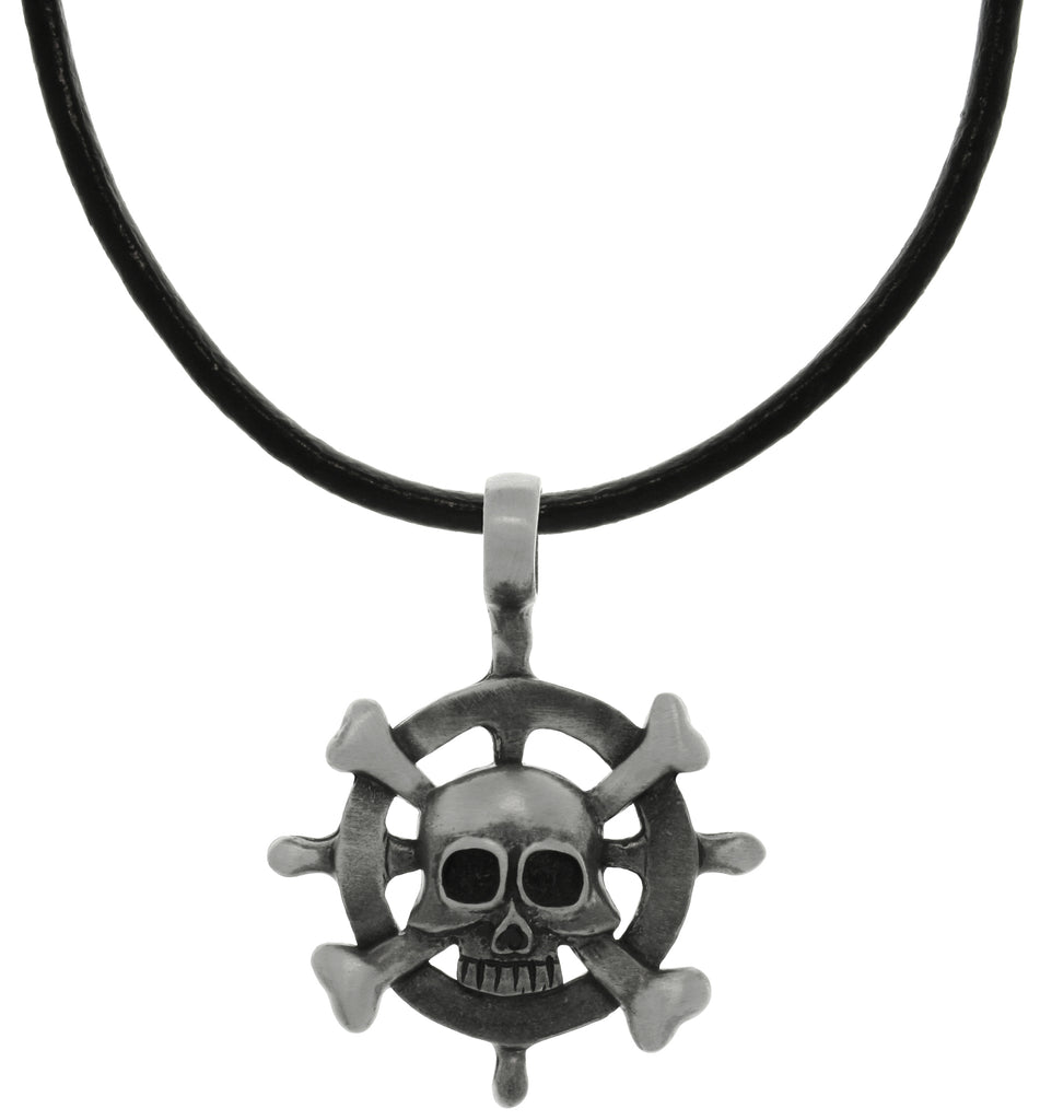 Jewelry Trends Pewter Captains Wheel with Skull and Crossbones Pendant on Black Leather Necklace