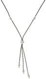 Jewelry Trends Sterling Silver and Ruthenium Sleek Snake Lariat Style Necklace