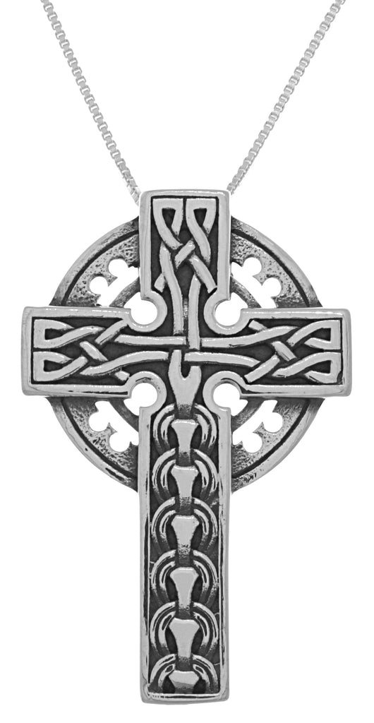 Jewelry Trends Sterling Silver Large Celtic Cross Pendant on 18 Inch Box Chain Necklace