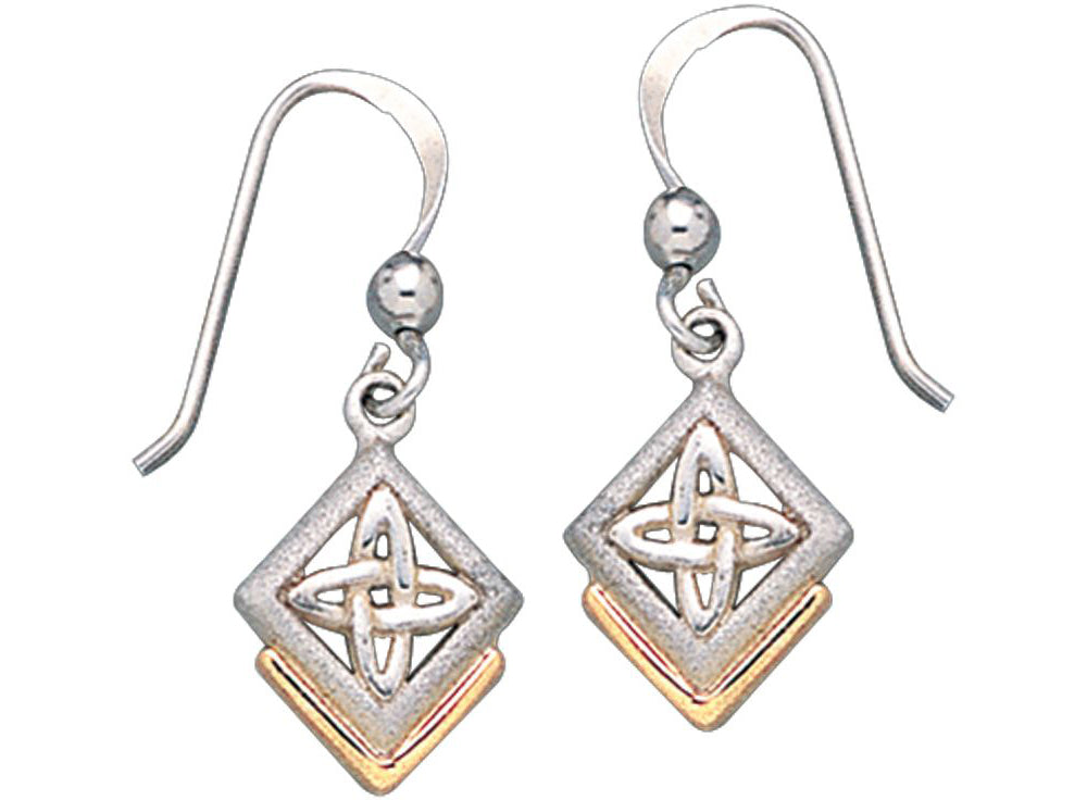Jewelry Trends Sterling Silver Celtic Knot of Inner Connection Dangle Earrings with Gold-plating