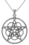 Jewelry Trends Sterling Silver Mystical Ringed Star Pentacle Pendant on 18 Inch Box Chain Necklace