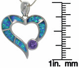 Jewelry Trends Sterling Silver Created Blue Opal and Purple CZ Open Heart Pendant on 18 Inch Box Chain Necklace