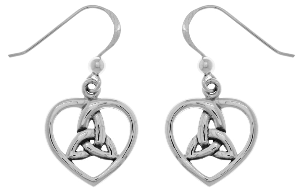 Jewelry Trends Sterling Silver Celtic Trinity Knot Heart Dangle Earrings