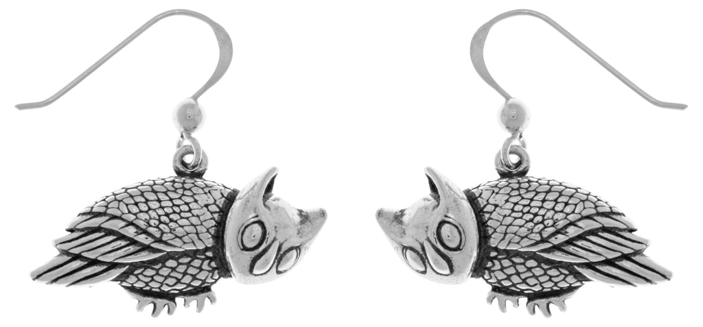 Jewelry Trends Sterling Silver Horned Barn Owl Dangle Earrings