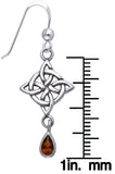 Jewelry Trends Sterling Silver and Garnet Celtic Luck Knotwork Dangle Earrings