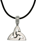 Jewelry Trends Pewter Unisex Celtic Triangle Knot Pendant on Black Leather Cord Necklace